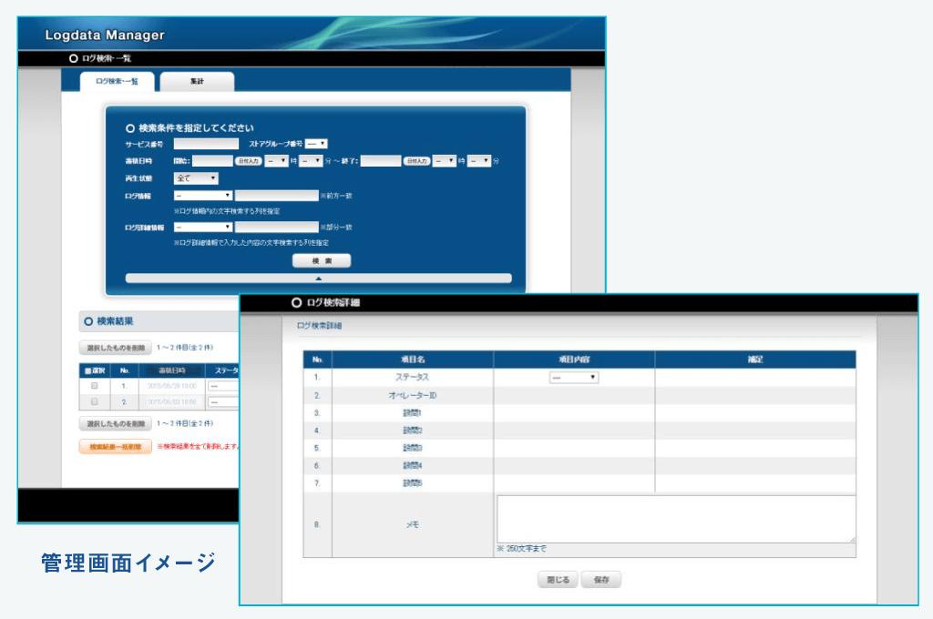 専用管理画面(データ蓄積環境+確認ツール)
